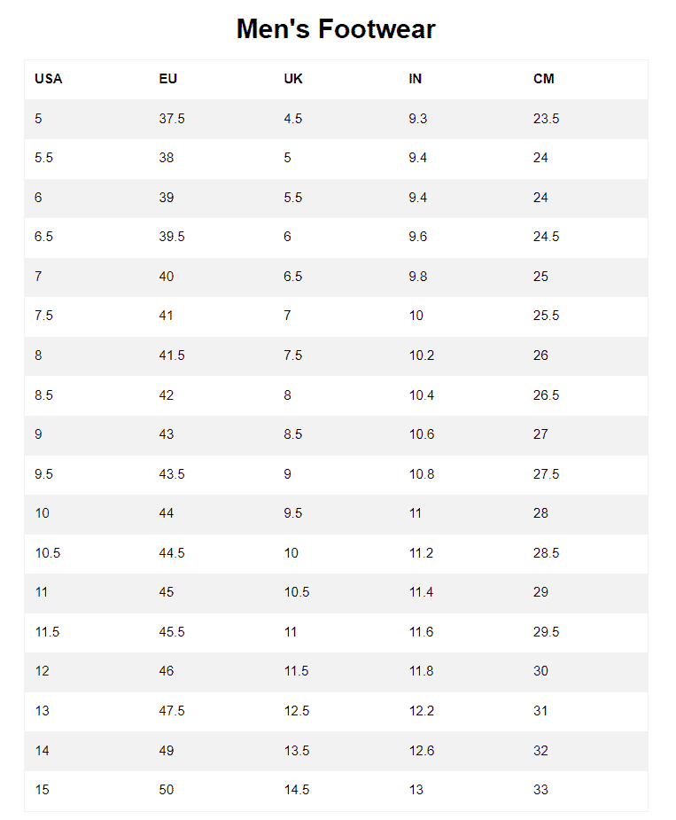 Timberland Adult Footwear Size Chart