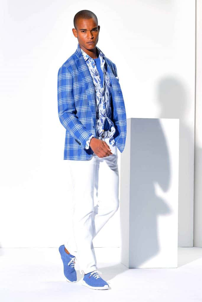 How to wear blue shoes with white pants