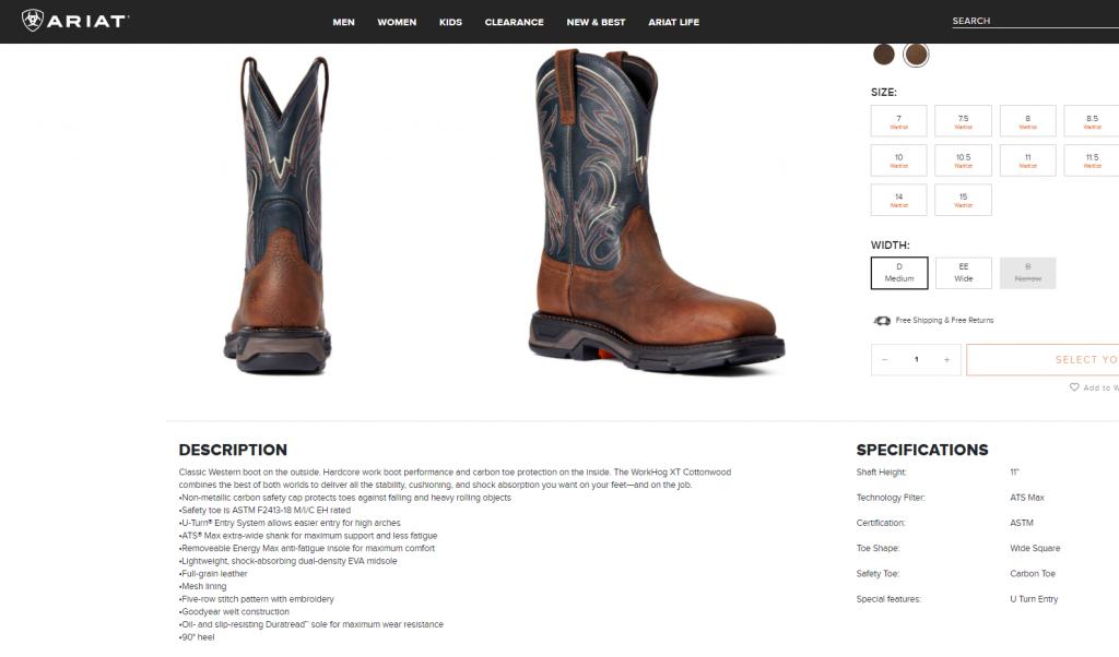 Ariat Boots Product Description