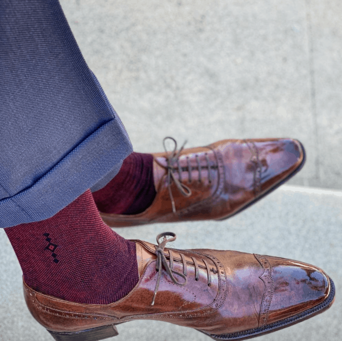Navy Suit with Burgundy socks and brown shoes