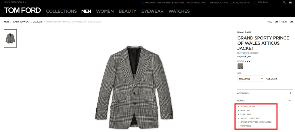 Tom Ford Made In No Info Website