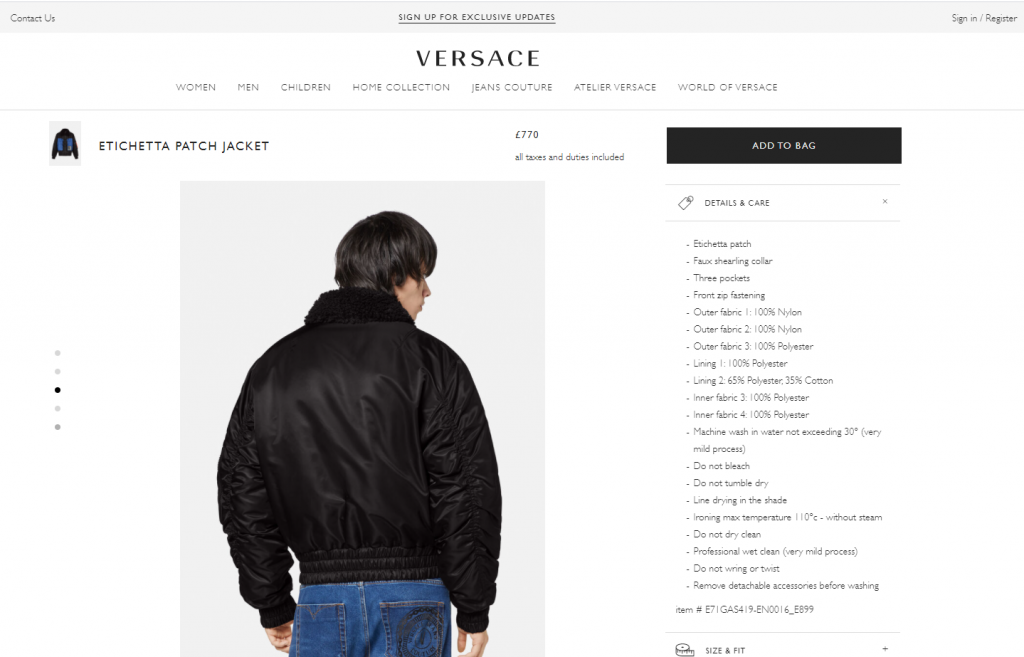 Is Versace Made In China